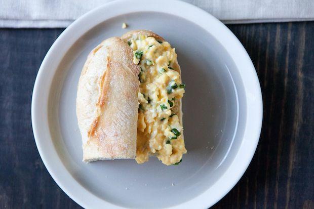 Baguette with Chevre Scrambled Eggs