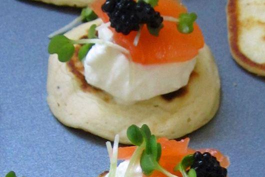 Lemony Elderflower Salmon Oatinis with Kelp Caviar