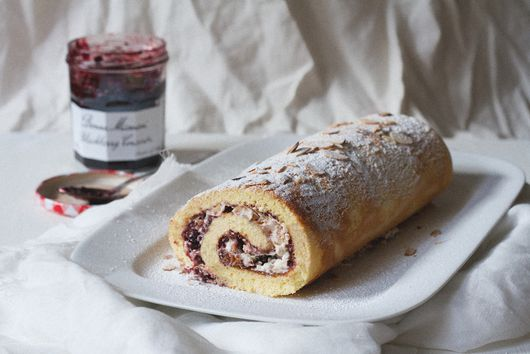 Blackberry and Almond Chantilly Cream Roulade