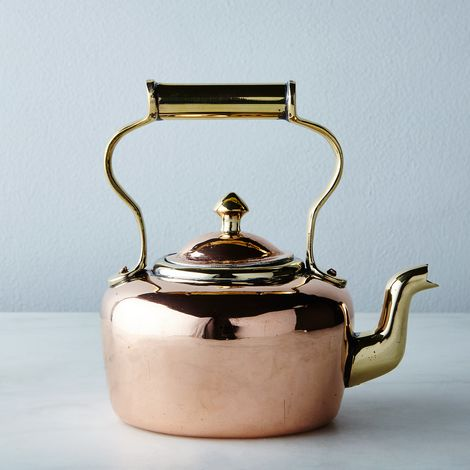 Vintage Oval Brass and Copper Petite Tea Kettle, Late 19th Century