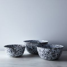 Grey Splatter Enamel Nesting Mixing Bowls (Set of 3)