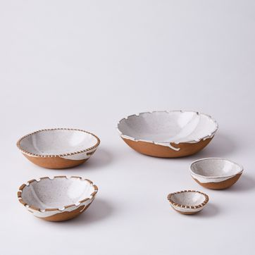 White Glazed Stoneware Set of 2 Small Nesting Bowls