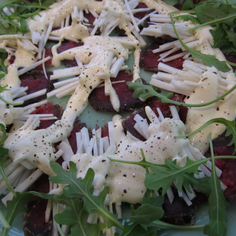 Cured Fillet of Beef Salad with Celeriac and a Creamy Horseradish Dressing
