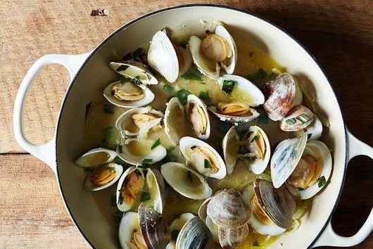 Clams (or Mussels) With Lime-Butter Sauce + Hashed Brussels Sprouts
