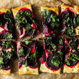 Rustic Beet Tart and Wilted Greens