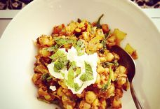 Spice Crusted Chickpeas with Mint Yogurt Sauce