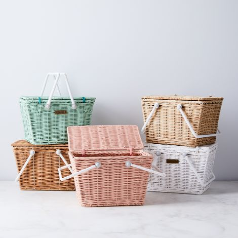 Mini White & Brown Rattan Picnic Basket