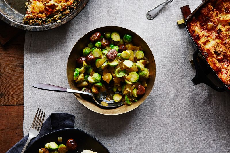 Julia Child's Brussels Sprouts with Braised Chestnuts