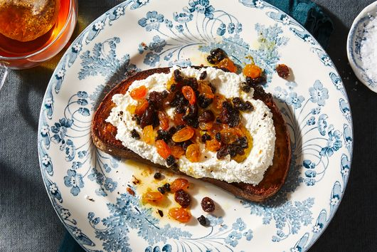 Toast With Buttered Raisins & Ricotta