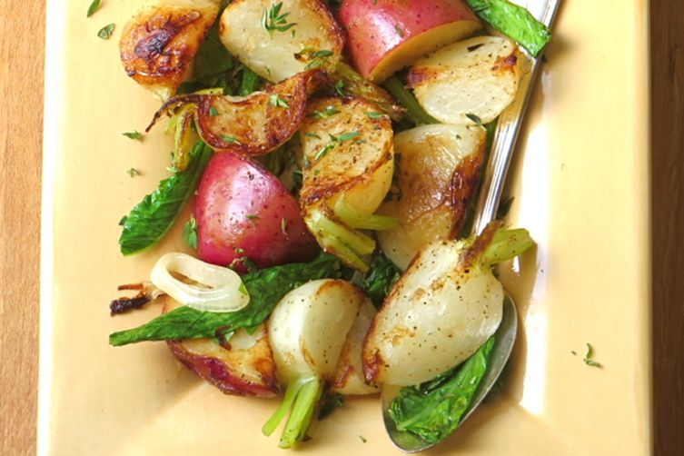 turnips, potatoes and greens