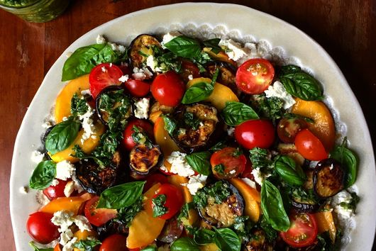 Feta-Brined Grilled Eggplant Salad