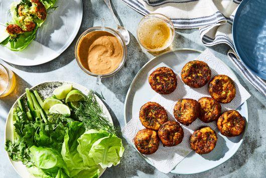 Turmeric Fish Balls With Peanut Sauce & So Many Herbs