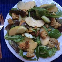 Red and Green Lettuces with Apple, Herb-Scented Croutons and Walnuts
