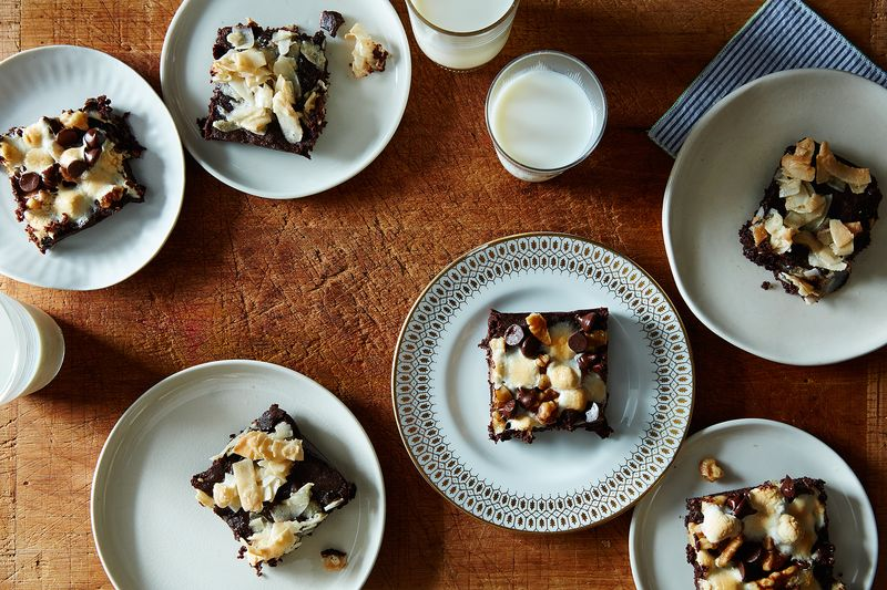Coconut-topped and Rocky Road-style brownies (and milk).