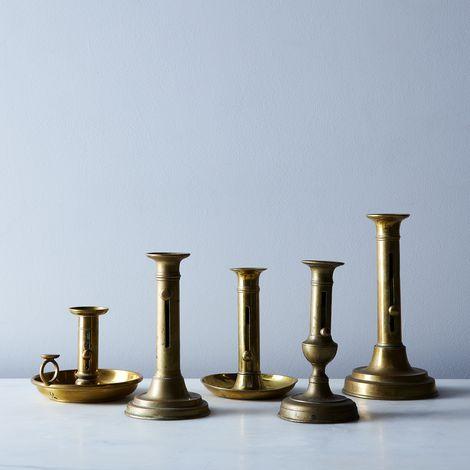 Vintage French Brass Candlesticks (Set of 2)