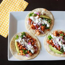 Roasted Cauliflower and Chickpeas Tacos with cilantro lime crema -