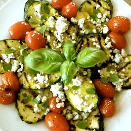 Grilled Zucchini and Tomatoes with Blue Cheese and Basil