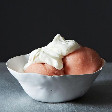 Rhubarb and Gin Sorbet with Rose Cream