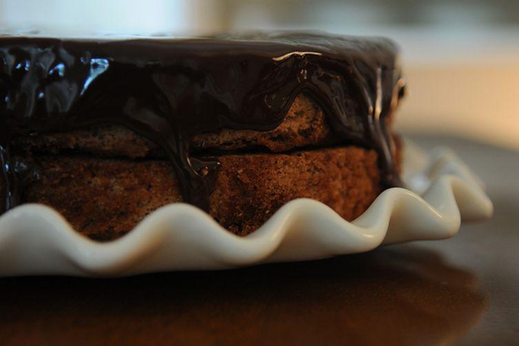 Not Red Velvet Cake with Fudge Glaze