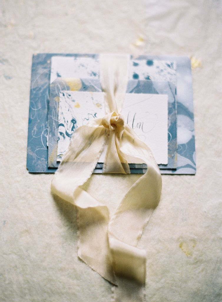 Stephanie Fishwick Marbled Paper Place Cards by Joey Kennedy