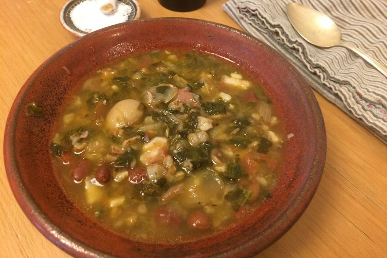 Bean, barley, and hamhock stew