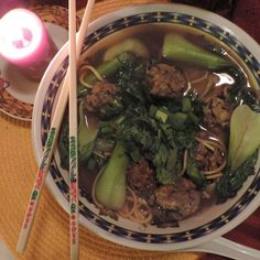 Chinese Meatball Soup w/Bok Choy