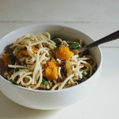 Goat Cheese Pasta with Caramelized Onions and Roasted Butternut Squash