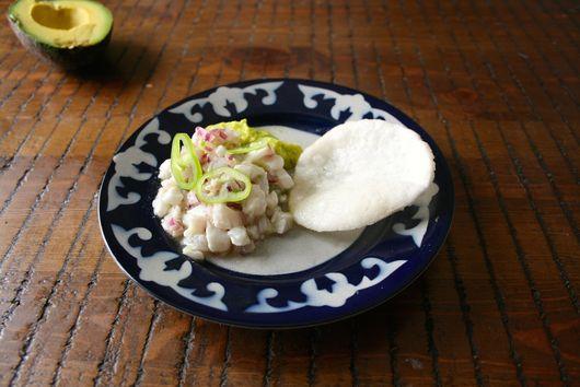 Sea Bream Ceviche with Avocado Puree and Prawn Chips