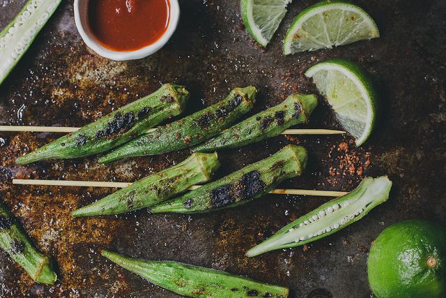Grilled Okra With Sriracha Lime Salt