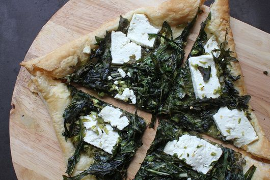 Bitter Green Salad Tart with Feta and Chilies