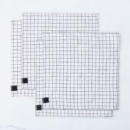 Windowpane Check Linen Napkins (Set of 4)