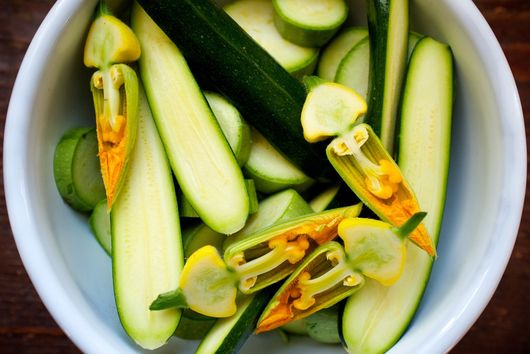 Sautéed Zucchini with Basil Leaves