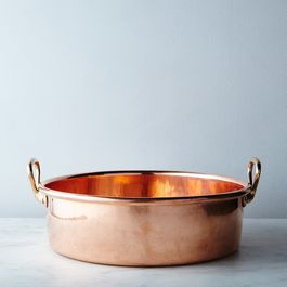 Vintage Copper Preserve Pan with Brass Handles, Late 19th Century