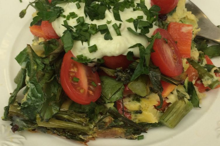 Wonder Woman Frittata with Pesto Yogurt