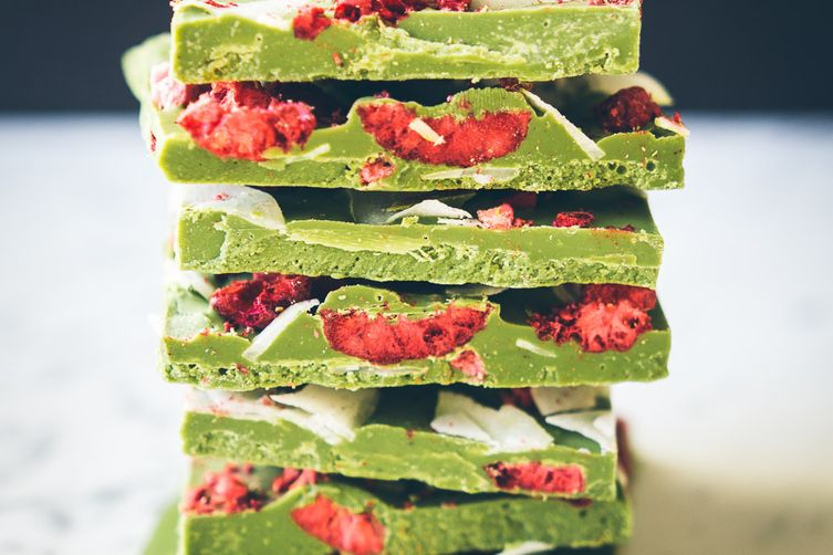 Matcha White Chocolate Bark with Coconut and Raspberries