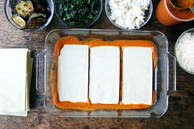 Roasted Eggplant and Sautéed Greens Lasagna