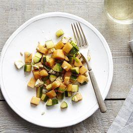 Cantaloupe Cucumber Salad with Basil and Feta