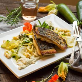 Pan Seared Barramundi with Corn and Zucchini