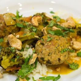 Pumpkin Coconut Curry with Herby Pork Meatballs