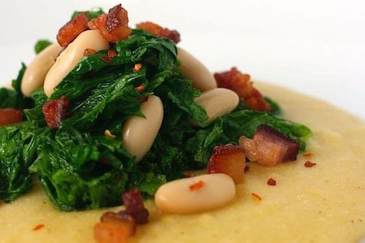 Polenta with White Beans and Spicy Mustard Greens