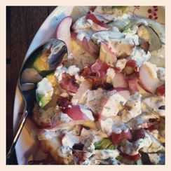 Grilled peach, onion, and avocado salad
