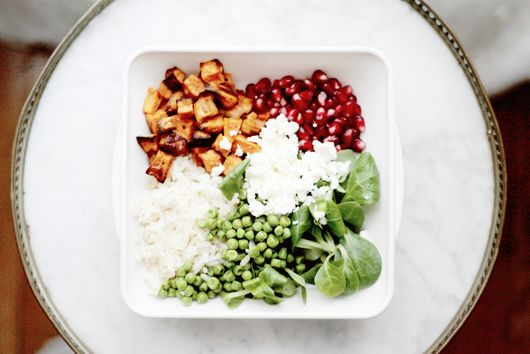 Sweet potato, rice, peas and pomegranate salad