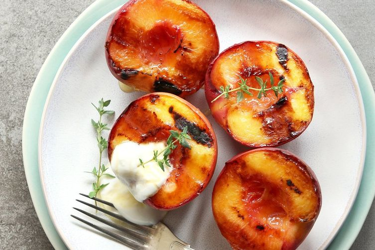Hickory Smoked Salth Grilled Peaches