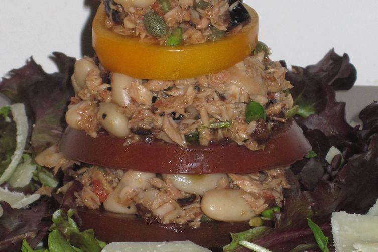 Heirloom Tomato and Mediterranean Tuna Salad Napoleons
