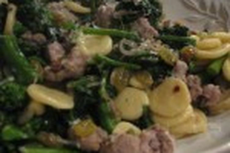 Fresh Orecciette with Broccoli Rabe, Sausage and Yellow Raisins