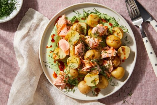 Cold Salmon & Potatoes With Dill Yogurt & Paprika Oil