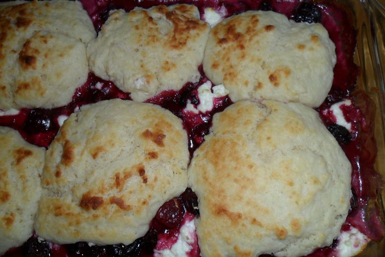 Sweet and Sour Cherry Cobbler with Chevre