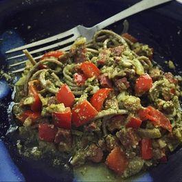Buckwheat Soba Noodles with Parsley Arugula Pesto