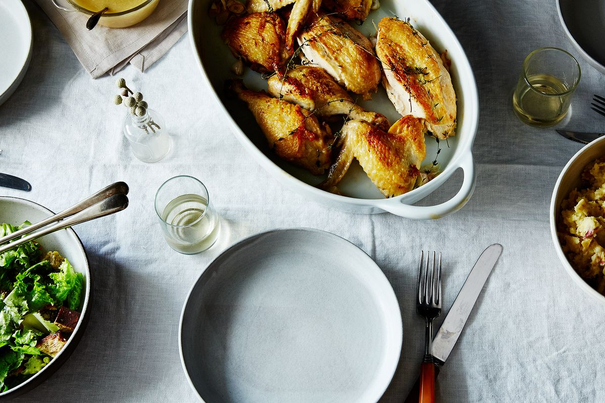 Fast roast chicken with white wine gravy recipe for Table 52 recipes