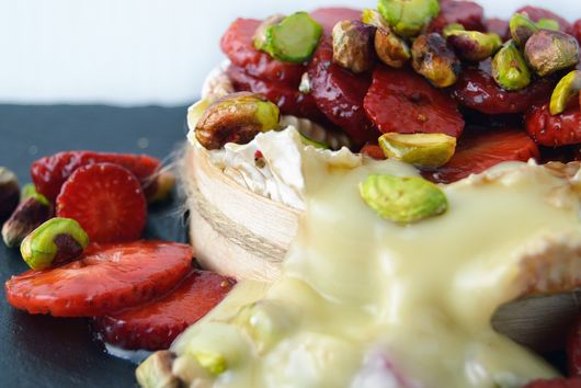 Baked Camembert with Pistachios and Marinated Strawberries